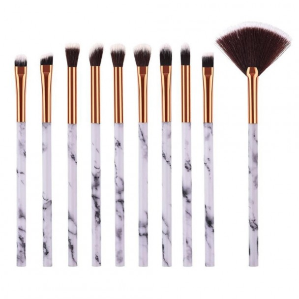 ΣΕΤ ΠΙΝΕΛΑ ΜΑΚΙΓΙΑΖ - MARBLING PROFESSIONAL WOMEN MAKEUP BRUSH SET 10 ΤΕΜΑΧΙΩΝ 8MM (GOLD-WHITE)