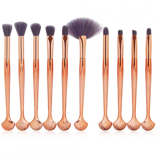 ΣΕΤ ΠΙΝΕΛΑ ΜΑΚΙΓΙΑΖ - SHEEL PROFESSIONAL WOMEN MAKEUP BRUSH SET 10 ΤΕΜΑΧΙΩΝ (MULTICOLOR/GOLD)