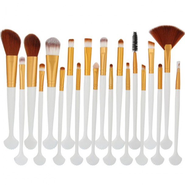 ΣΕΤ ΠΙΝΕΛΑ ΜΑΚΙΓΙΑΖ - SHELL PROFESSIONAL WOMEN MAKEUP BRUSH SET 20 ΤΕΜΑΧΙΩΝ (BROWNGOLD/WHITE)